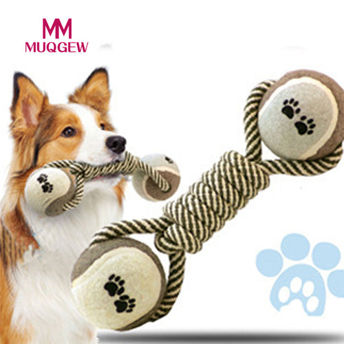 Pets Dog Cotton Rope Ball Toy Biting Ball Colorful Squeak Chew Toys Ball Teeth Cleaning Training Toy Pet Products Supplies 2017