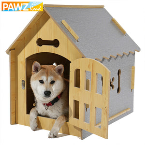 Domestic Delivery Pet Dog Solid Wood House Bed Cute Detachable Reversible Dog Kennel Bed Kitten Small Dog Cat House Pet Supplies