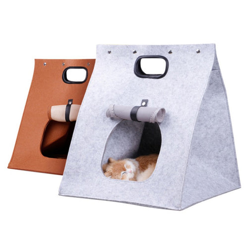 Felt Cat Dog House Travel Nest Foldable Portable Deformable Pet Sleeping Bag Pet Carrier Handbag Dog Supplies
