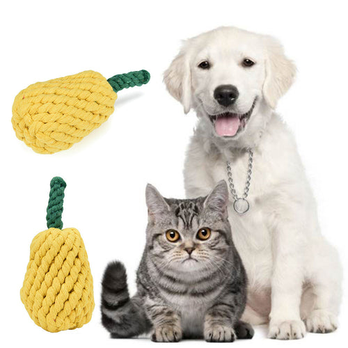 1pc Pets dogs pet supplies Pet Dog Puppy Cotton Chew Knot Toy Durable Braided pineapple Rope 12CM Bite Toys for Dog Accessories