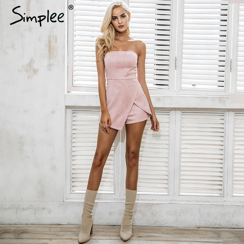 5d0471352f3 Simplee Strapless leather suede jumpsuit romper Women slim pink winter  irregular short playsuit Elegant autumn female