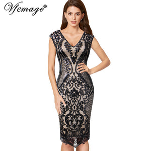 8e60240414 Vfemage Womens Sexy Elegant V Neck Floral Sequin Embroidered Evening Party  Special Occasion Slim Bodycon Pencil