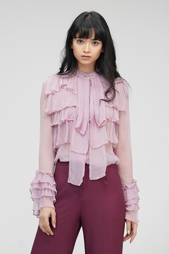 Ruffle Shirt | IN MY CLOTHES | Shop online | premium casual clothing for women | Pink | Blouses