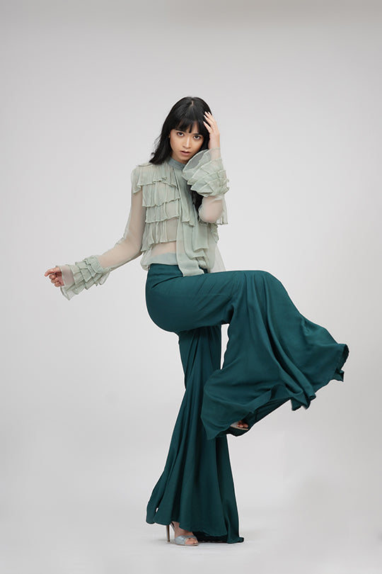 Bell-pants | IN MY CLOTHES | Shop online | premium casual clothing for women | Teal | Trousers | bell-bottoms