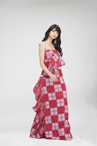 Strapless Ruffle Dress | IN MY CLOTHES | Shop online | premium casual clothing for women | Red | Checks