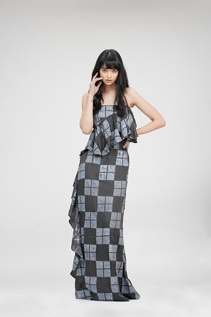 Strapless Ruffle Dress | IN MY CLOTHES | Shop online | premium casual clothing for women | Grey | Checks