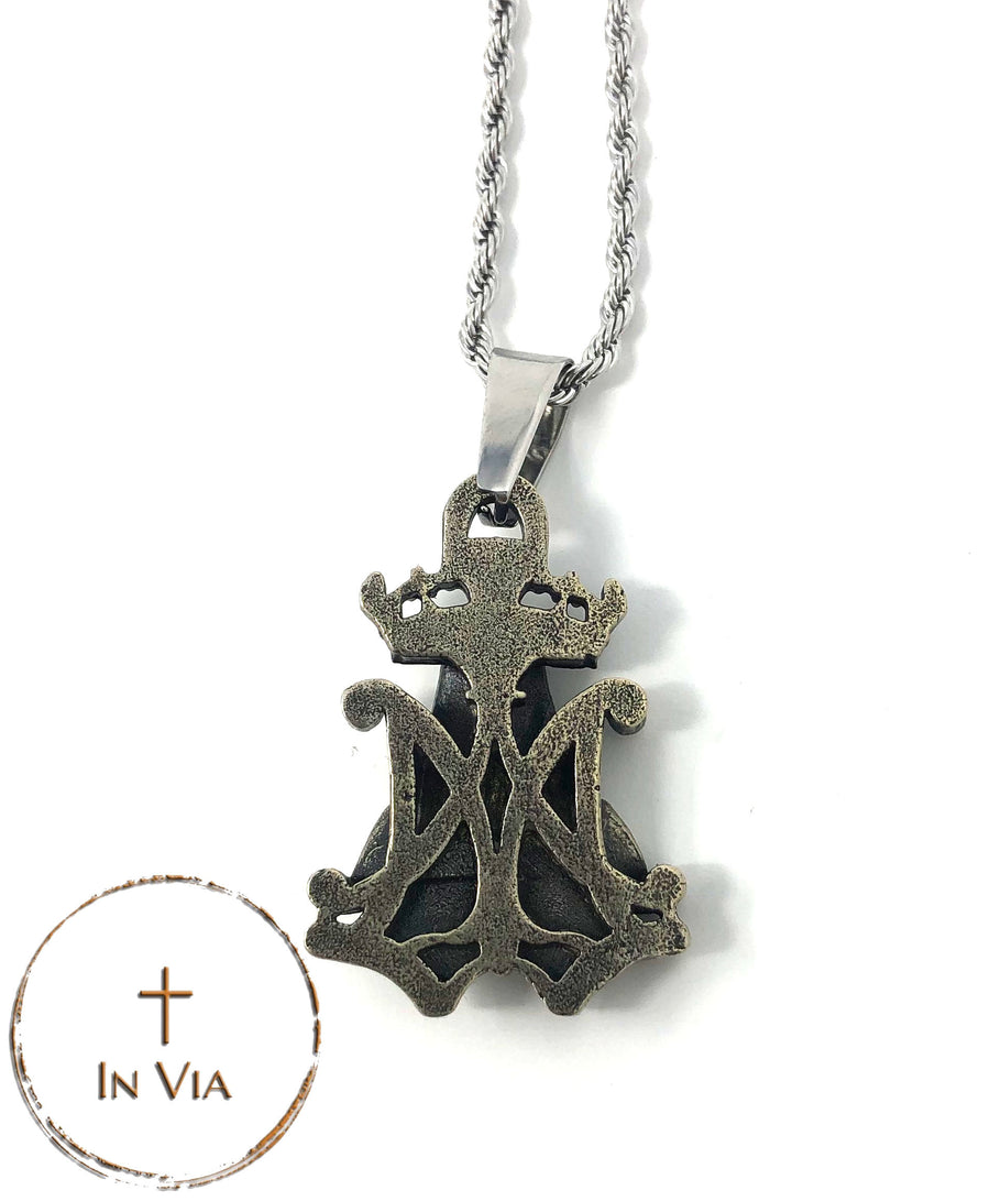 In Via's Our Blessed Mother Pendant- Solid White Bronze
