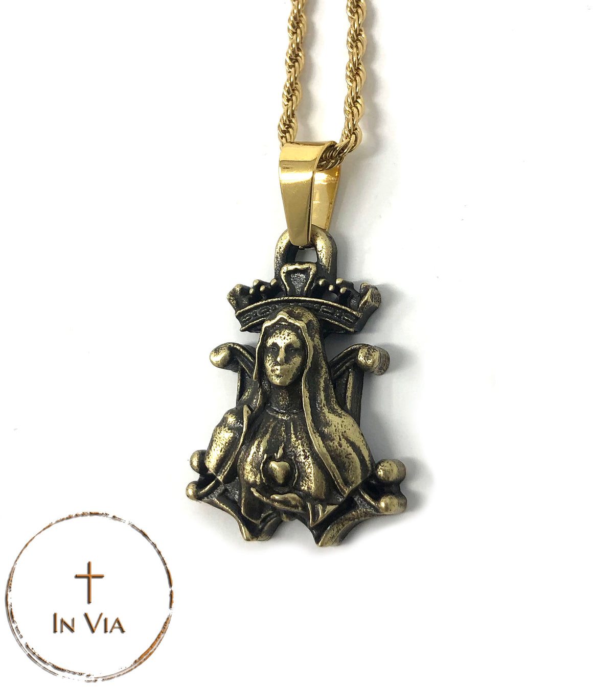 In Via's Our Blessed Mother Pendant- Solid Brass
