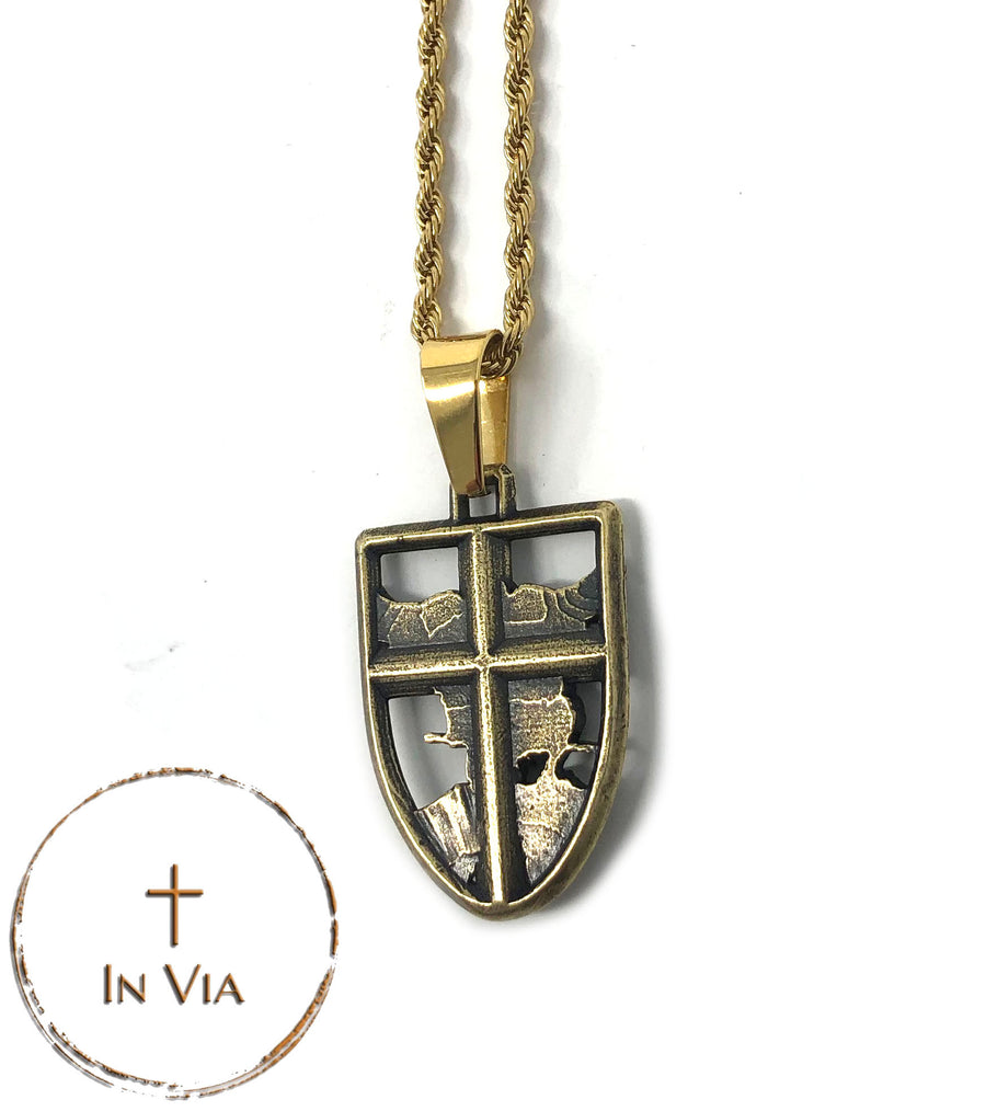 In Via St. Michael Pendant- Solid Brass