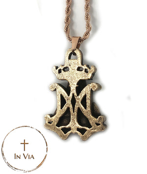 In Via's Our Blessed Mother Pendant- Solid Bronze
