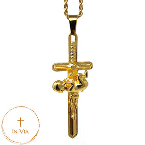 In Via Defend Life Crucifix -Gold
