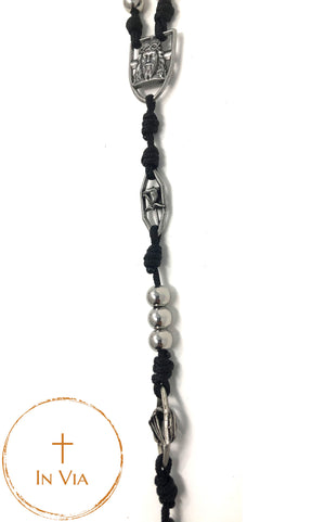 In Via Octo Metallum Defender Rosary- Stainless Steel