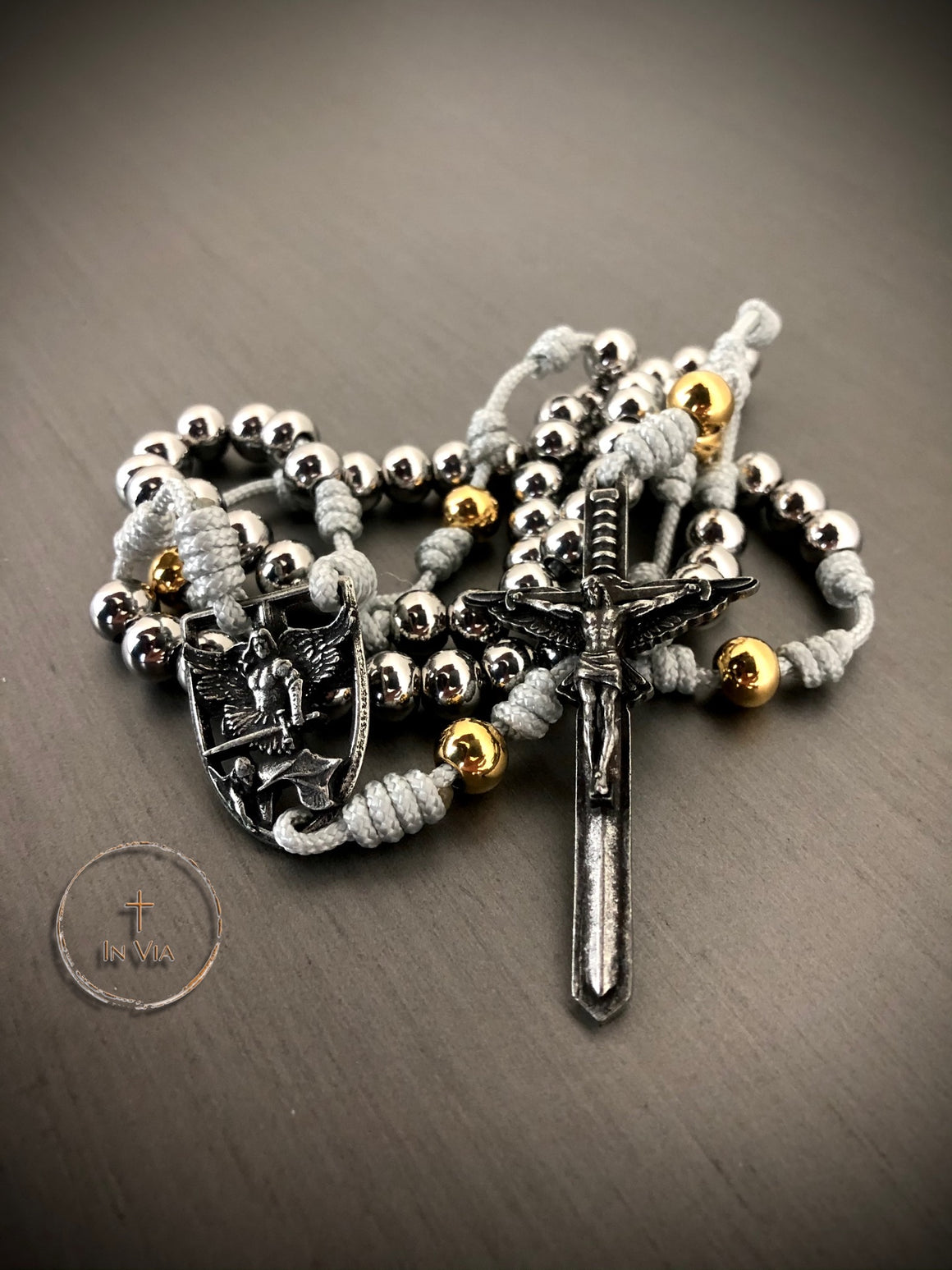 In Via St. Michael Guardian Rosary -Stainless Steel