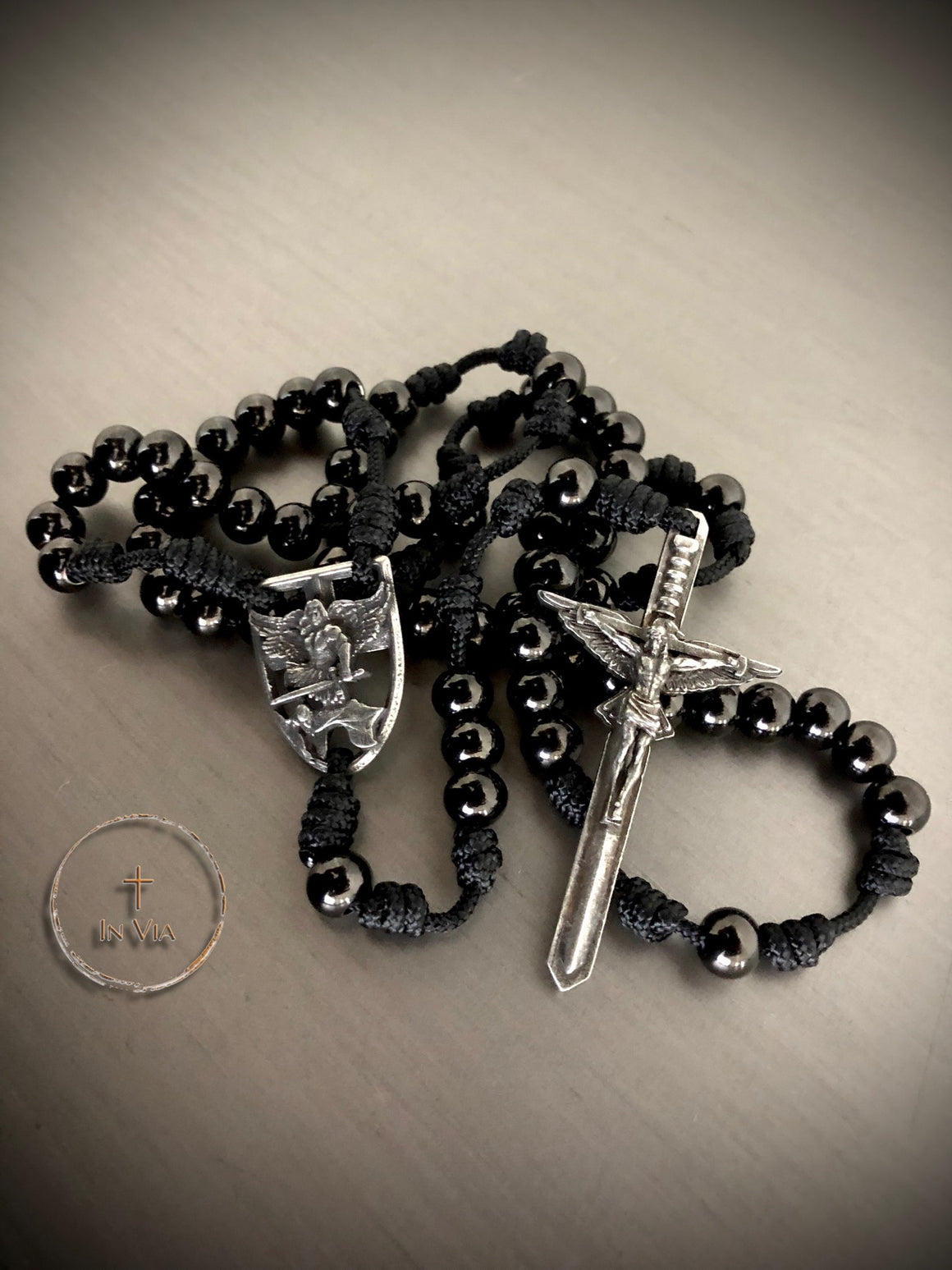 In Via St. Michael Defender Rosary -Black Stainless Steel