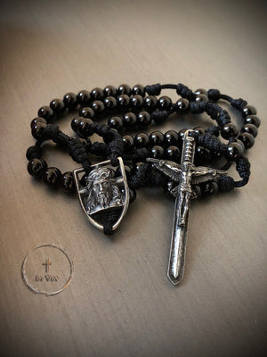 In Via Defender Rosary -Black Stainless Steel