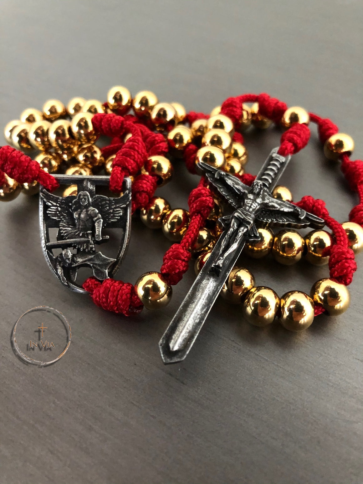 In Via St. Michael Defender Rosary -Red & Gold Stainless Steel