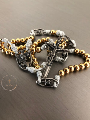 In Via St. Michael Guardian Octo Metallum Rosary -Solid White Bronze & Gold Stainless Steel