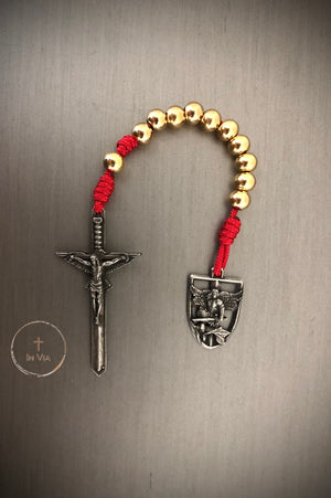 In Via St. Michael Defender Prayer Cord -Red & Gold Stainless Steel