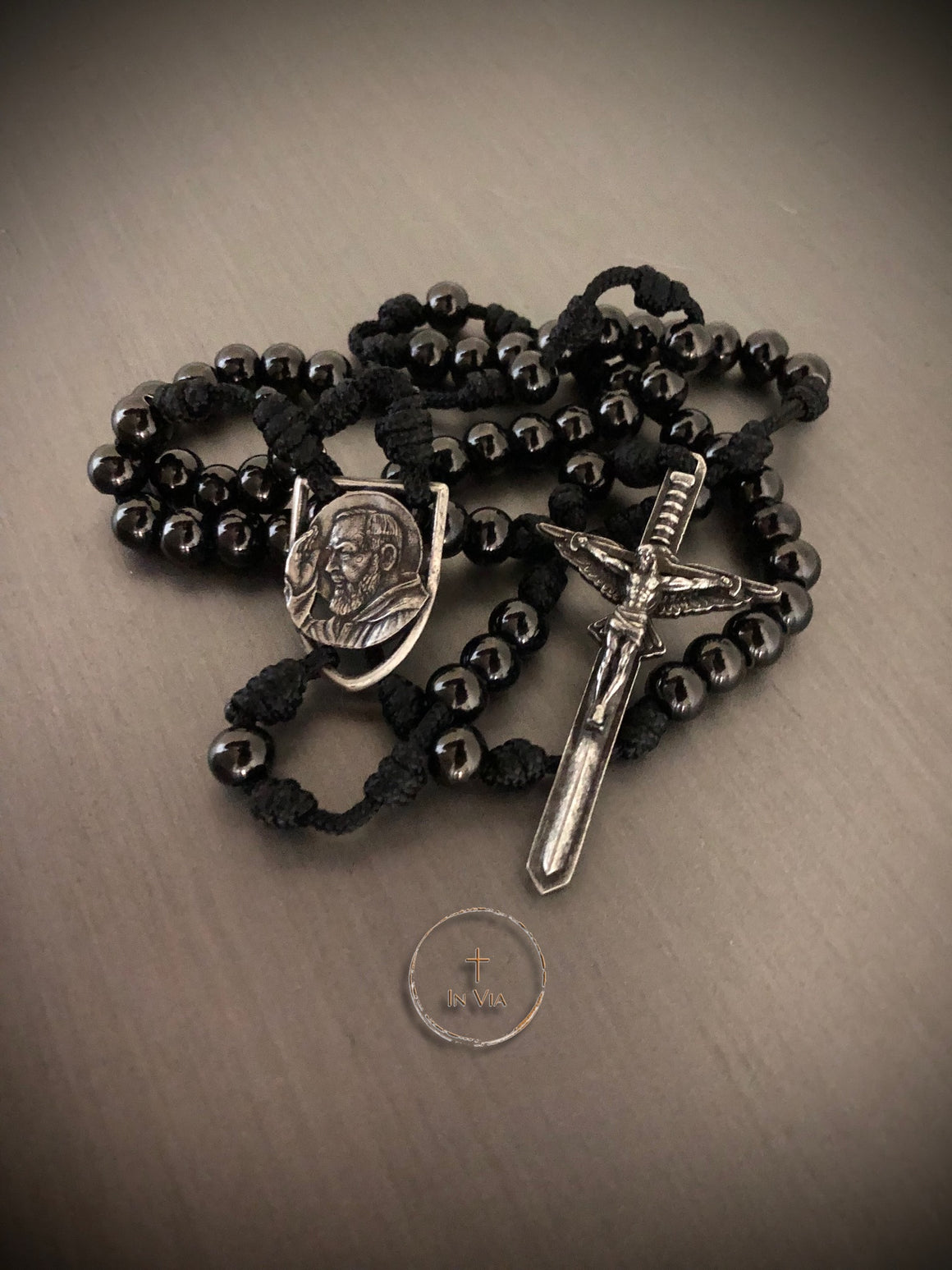 In Via St. Padre Pio Defender Rosary -Black Stainless Steel
