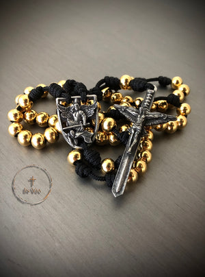 In Via St. Michael Defender Rosary -Gold Stainless Steel
