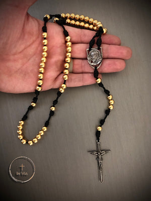 In Via St. Padre Pio Defender Rosary -Gold Stainless Steel