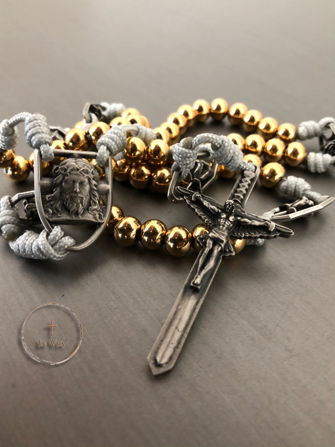 In Via Prince of Peace Octo Metallum Rosary -Solid White Bronze & Gold Stainless Steel