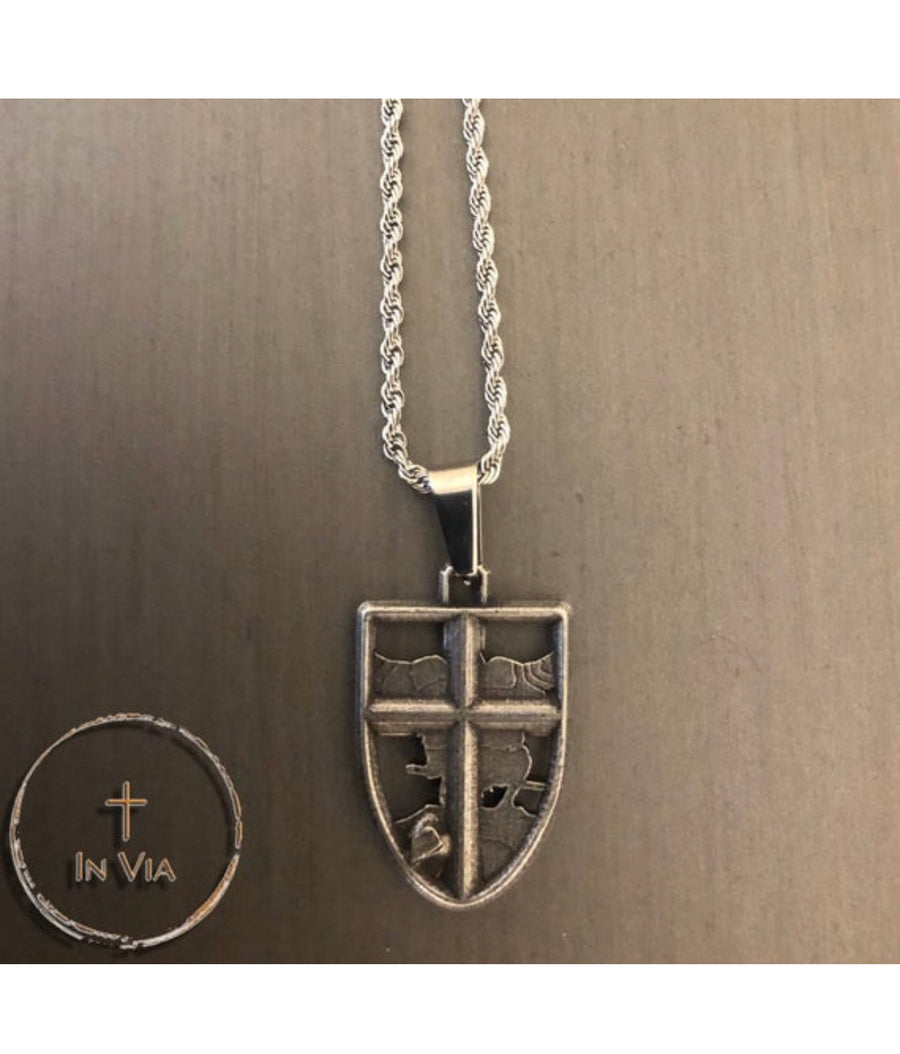 In Via St. Michael Defender Pendant -Distressed Metal