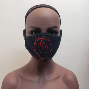BLM Black power fabric mask-mask-SanJules