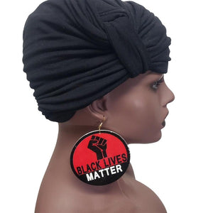 Black Lives Matter earrings red black and white 3 x 3 inches