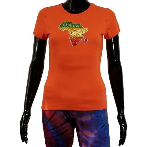 Orange t shirt with rhinestone map of Africa