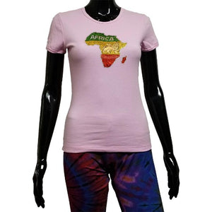 Plink t shirt with rhinestone map of Africa