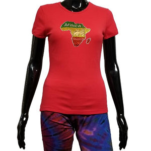 Red t shirt with rhinestone map of Africa