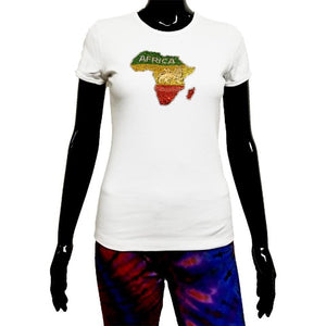 White t shirt with rhinestone map of Africa