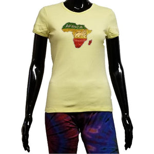 Yellow t shirt with rhinestone map of Africa