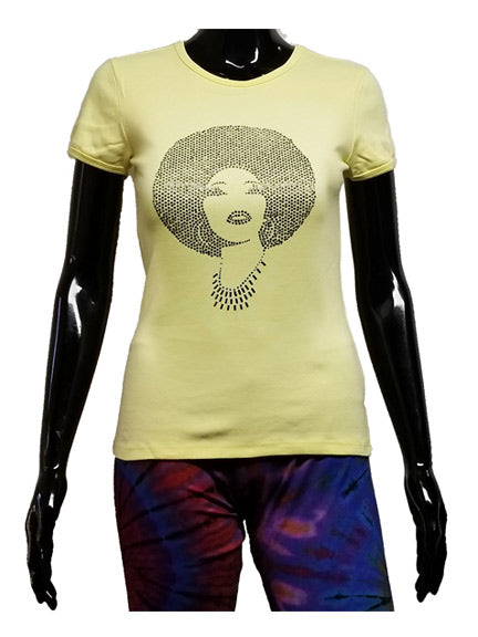 Foxy Black Diamond Rhinestone Afro Yellow T Shirt