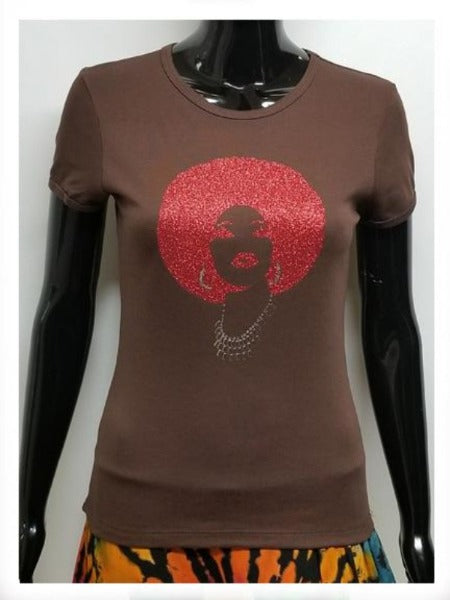 Foxy red afro-T Shirt-SanJules