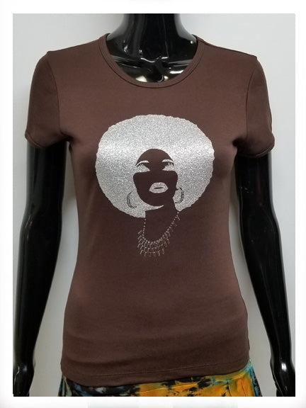 Foxy all silver afro-T Shirt-SanJules