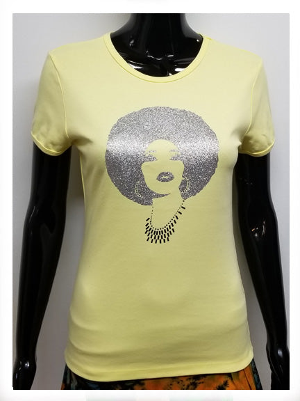 FOXY ALL SILVER AFRO SHORT SLEEVE T-SHIRT