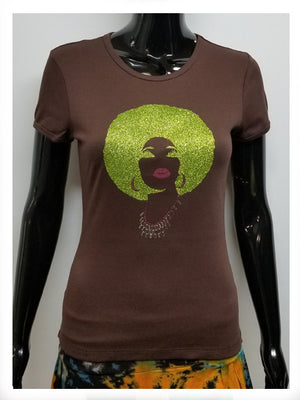 FOXY GREEN AND PINK AFRO SHORT SLEEVE T-SHIRT