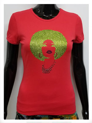 Foxy green and pink afro-T Shirt-SanJules