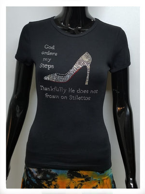 GOD ORDERS MY STEPS STILETTO SHORT SLEEVE T-SHIRT