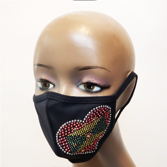 Rep your Country Flag Rhinestone mask-mask-SanJules