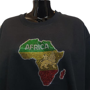 Rhinestone map of Africa on a Black sweat shirt