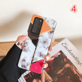 Plating Gold Geometric Marble Soft Samsung Case