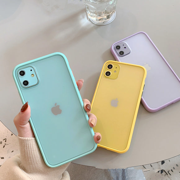 Contrast Candy Color Transparent Soft Phone Case Back Cover for iPhone SE/11/11 Pro/11 Pro Max/XS Max/XR/XS/X/8 Plus/8/7 Plus/7 - caseative
