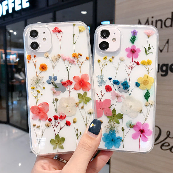 Real Dried Flower Transparent Soft iPhone Case