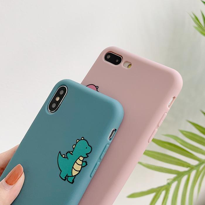Cartoon Cute Dinosaur Matte Couple Phone Case Back Cover for iPhone X