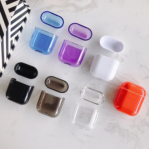 Solid Color Transparent Wireless Bluetooth Earphone Cases for Airpods