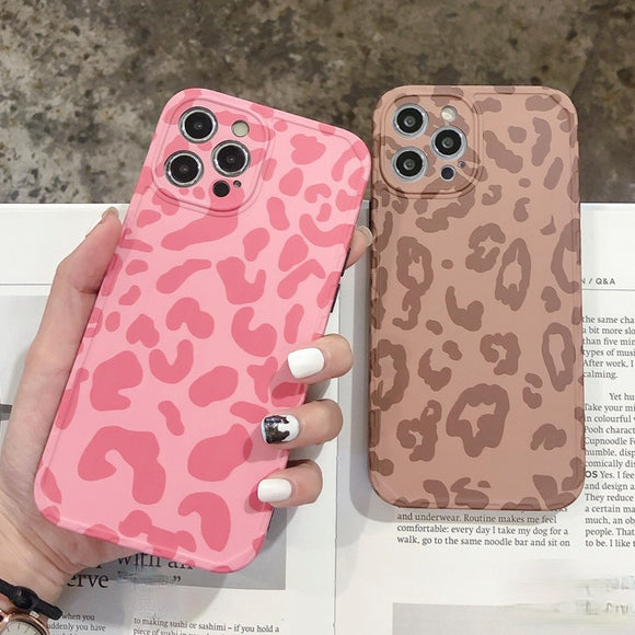 Fashion Leopard Print Couple Silicone Soft iPhone Case