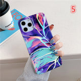 Laser Gradient Color Marble Soft iPhone Case